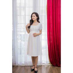 Đầm bầu tay ngắn nhún thun trắng giá sỉ