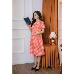 Đầm bầu tay ngắn sọc caro đỏ giá sỉ