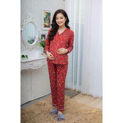 Bộ bầu pyjama tay dài đỏ đô giá sỉ