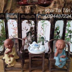 Bình phong mini kiểu cổ bằng sơn mài 6 cánh trang trí bàn trà tphcm giá sỉ