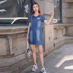 Đầm Jean Oversize Phối Nón In Hình Cao Cấp giá sỉ
