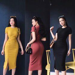 Đầm ôm body nhún xẻ tà giá sỉ