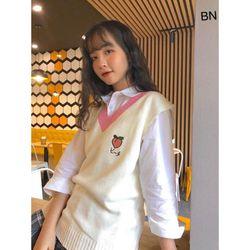 set bộ đồ nữ đẹp chất cá tính dễ thương giá rẻ áo sơ mi gile len hoa quả BN 07240 Kèm Ảnh Thật giá sỉ