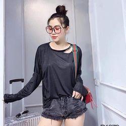 áo phông thun nữ đẹp kiểu hàn quốc dễ thương giá sỉ dài tay dây chữ cổ BN 63387 Kèm Ảnh Thật giá sỉ