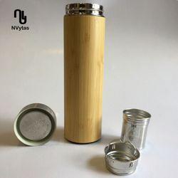 Bình giữ nhiệt vỏ tre 350ml có lõi lọc trà đơn giá sỉ