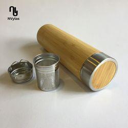 Bình giữ nhiệt vỏ tre 500ml có lọc trà kép giá sỉ, giá bán buôn