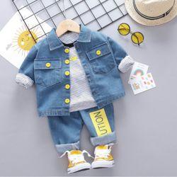 Bộ bé trai 3 chi tiết quần áo jean áo thun kẻ ngang giá sỉ