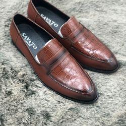 giày tây nam công sơ-chất da bò -đế phíp màu nâu giá sỉ