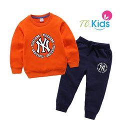 Bộ thun In logo trên áo và quần bé trai giá sỉ tphcm