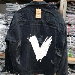 Áo khoác jean nam Unisex wash màu đen giá sỉ