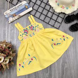 Đầm thiết kế 2 dây thêu hoa bé gái giá sỉ tphcm