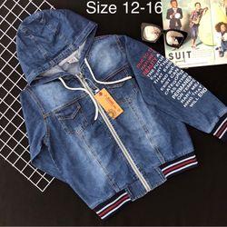 áo khoác jean bé trai vải iean coton in chữ may bo giá sỉ