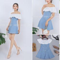Đầm Jean Bẹt Vai Phối Ren giá sỉ