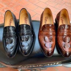 Giày lười nam chất da bò dập vân cá xấu có bảo hành giá sỉ