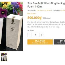Sữa rửa mặt dưỡng trắng Whoo Gongjinhyang Seol Brightening Cleansing Foam giá sỉ