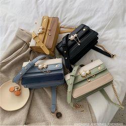 Túi đeo chéo nữ nắp ngọc phối màu giá sỉ