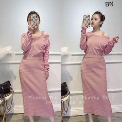 set bộ đồ nữ đẹp chất cá tính dễ thương giá rẻ váy len 3 lỗ áo trễ vai BN 06711 giá sỉ