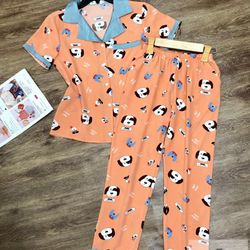 Đồ Bộ Pijama Lụa Quần Dài Hình Cún giá sỉ