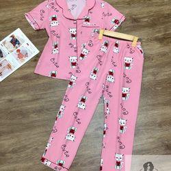 Đồ Bộ Pijama Lụa Quần Dài Mèo Cute giá sỉ
