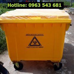 Xe thu gom rác 660 lít xe đẩy rác 660 lít xe rác bệnh viện 660 lít nhựa HDPE giá sỉ