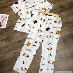 Đồ Bộ Pijama Lụa Quần Dài Happy Cat giá sỉ