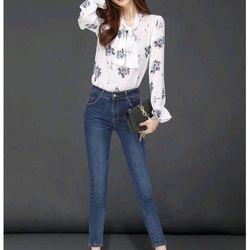 Quần jeans Nữ Trơn xanh wash giá sỉ