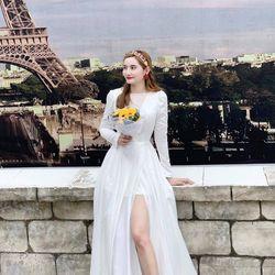 Đầm Dạ Hội Tay Dài Xẻ Tà giá sỉ