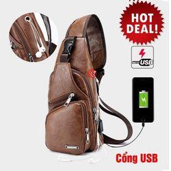 Túi đeo chéo da nam tặng kèm cổng sạc USB giá sỉ