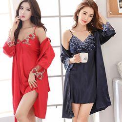 Đầm ngủ Nữ có áo choànhoa văn tinh tế sang trọngquyến rủ -201 giá sỉ