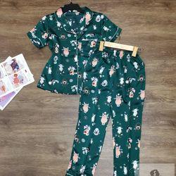 Đồ Bộ Pijama Lụa Satin Quần Dài Mèo Mập Cam giá sỉ