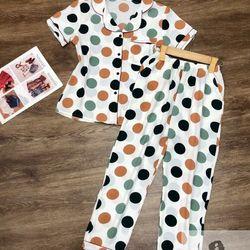 Đồ Bộ Pijama Đũi Quần Dài Chấm Bi giá sỉ