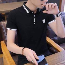 áo nam cổ trụ đen in cực chất giá sỉ