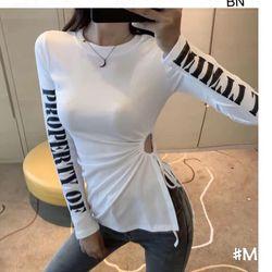áo phông thun nữ đẹp kiểu hàn quốc dễ thương giá sỉ body dài tay in chữ BN 43179 Kèm Ảnh Thật giá sỉ