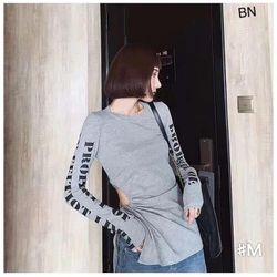 áo phông thun nữ đẹp kiểu hàn quốc dễ thương giá sỉ body dài tay in chữ BN 43179 Kèm Ảnh Thật