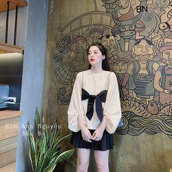 áo kiểu nữ đẹp kiểu hàn quốc dễ thương giá sỉ tay bồng nơ ngực BN 46948 Kèm Ảnh Thật giá sỉ