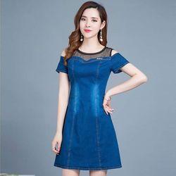 Đầm Jean Phối Lưới Lỡ Vai Trẻ Trung giá sỉ, giá bán buôn
