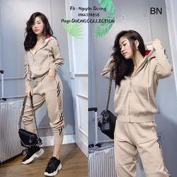đồ bộ thể thao nữ mùa hè đẹp hàn quốc giá rẻ mũ khóa bur BN 09725 Kèm Ảnh Thật giá sỉ