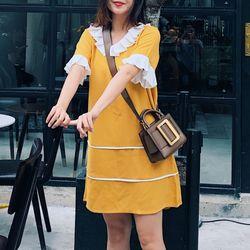 Váy suông cổ xếp ly vàng hình tự chụp - gia công và bán sỉ giá sỉ