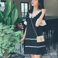 Váy suông cổ xếp ly đen hình tự chụp- gia công và bán sỉ giá sỉ