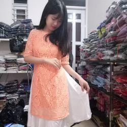 Áo dài ren màu cam giá sỉ giá bán buôn giá sỉ