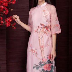 Set áo dài voan hồng truyền thống giá sỉ