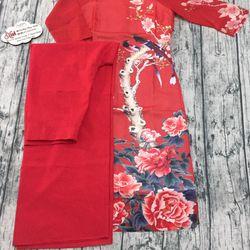 Set áo dài voan đỏ truyền thống giá sỉ