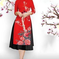 Set áo dài gấm lụa đỏ in hoachim giá sỉ, giá bán buôn