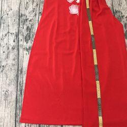 Áo dài đỏ thêu ruyban hoa lá giá sỉ