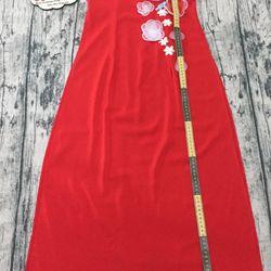 Áo dài đỏ thêu ruyban hoa lá giá sỉ, giá bán buôn