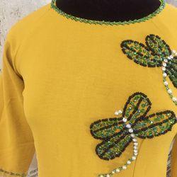 Set áo dài truyền thống chuồn chuồn vàng giá sỉ
