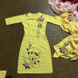 áo dài lụa Nhật vàng đính hoa nổi giá sỉ, giá bán buôn