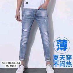 Quần jean nam wash rách thêu lai quần thời trang 2KJean cao cấp giá sỉ