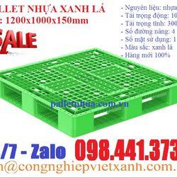 Pallet nhựa xanh lá1200x1000x150mm giá sỉ