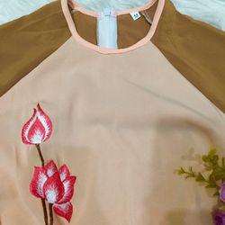Set áo dài nâu hai tầng thêu hoa sen giá sỉ, giá bán buôn
